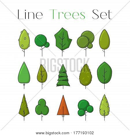 Colorful line design art tree icons set. Collection of nature forest or park elements. Flat natural signs. Objects for decoration as part of card poster banner concept. Vector illustration isolated