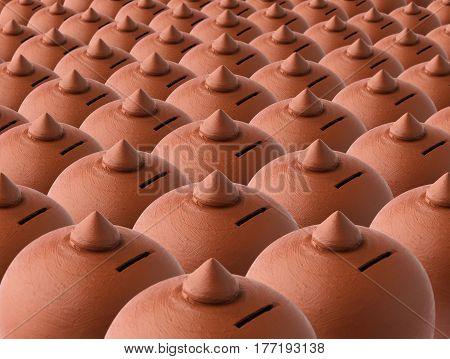 Typical terracotta money saving box or piggy bank arranged in group, selective focus