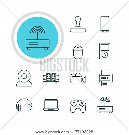 Vector Illustration Of 12 Technology Icons. Editable Pack Of Game Controller, Media Controller, Computer And Other Elements.