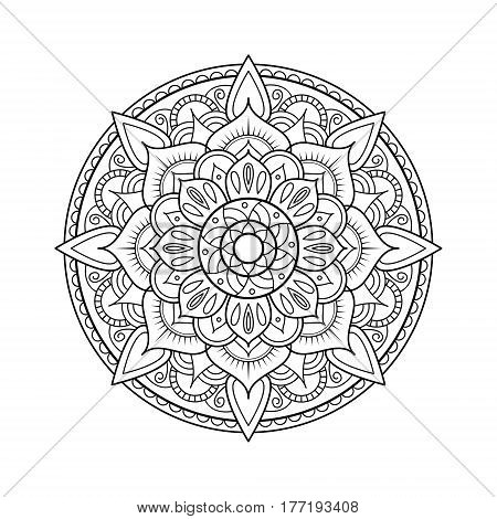 Mandala element. Symmetric zentangle. Black vector illustration. Abstract doodle background. Good for cards invitations presentations party bag t-shirt marketing materials. Indian east style.
