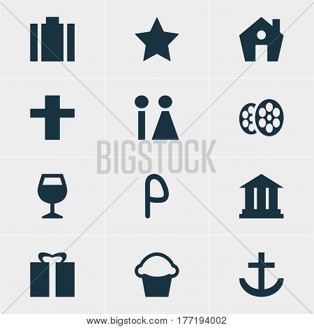 Vector Illustration Of 12 Check-In Icons. Editable Pack Of Film, Cake, Cross And Other Elements.