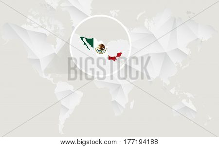 Mexico Map With Flag In Contour On White Polygonal World Map.