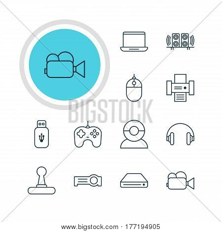 Vector Illustration Of 12 Hardware Icons. Editable Pack Of Loudspeaker, Usb Card, Joypad And Other Elements.