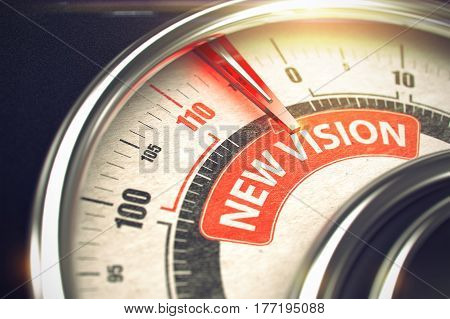 New Vision - Conceptual System with Red Needle Pointing the Label with Inscription. Business or Marketing Concept. Horizontal image. 3D.