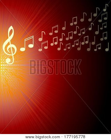 Musical background with treble clef and and notes on red rays area. Overlay for a concert program vector EPS 10