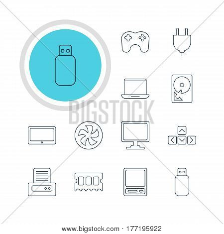 Vector Illustration Of 12 Laptop Icons. Editable Pack Of Printer, Cooler, Screen And Other Elements.