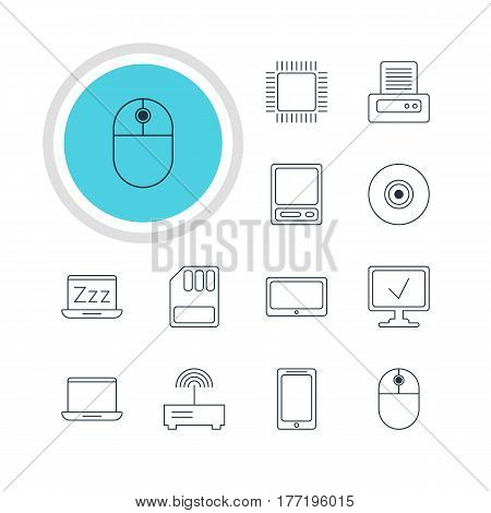 Vector Illustration Of 12 Computer Icons. Editable Pack Of Online Computer, Notebook, Objective And Other Elements.