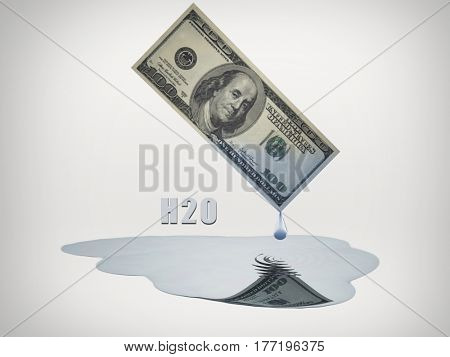 100 Dollar bill drips fresh water   3D Render