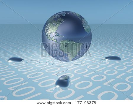 Earth with binary code and computer mice   3D Render  Some elements provided courtesy of NASA