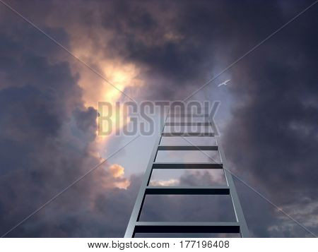 Ladder into dramatic sky   3D Render