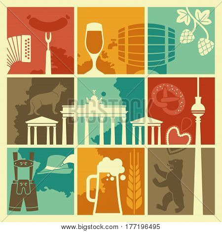 Traditional symbols of culture, architecture and cuisine of Germany