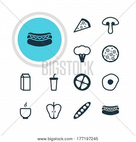 Vector Illustration Of 12 Food Icons. Editable Pack Of Cotton, Jonagold, Bowl And Other Elements.