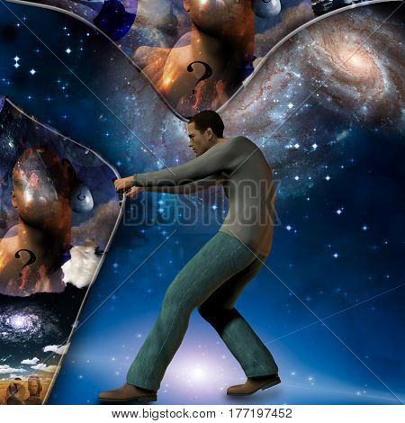 Man stretches space time to show power beneath   3D Render  Some elements provided courtesy of NASA