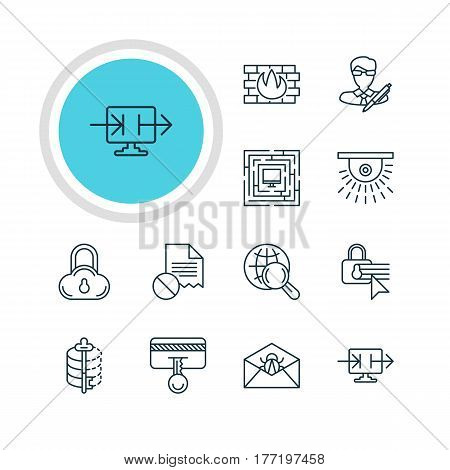 Vector Illustration Of 12 Data Icons. Editable Pack Of Corrupted Mail, Safe Storage, Encoder And Other Elements.