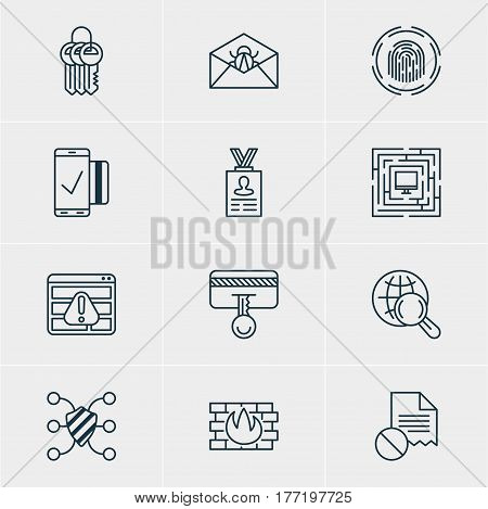Vector Illustration Of 12 Privacy Icons. Editable Pack Of Corrupted Mail, Easy Payment, System Security And Other Elements.