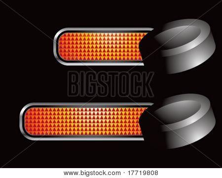 hockey puck orange checkered tabs