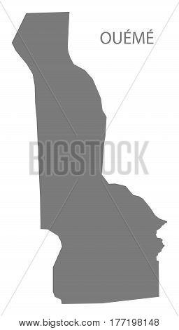 Oueme Benin Department Map Grey Illustration Silhouette