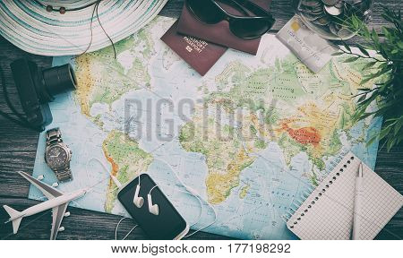 travel planning map tourism traveler plan holiday lay desk flat