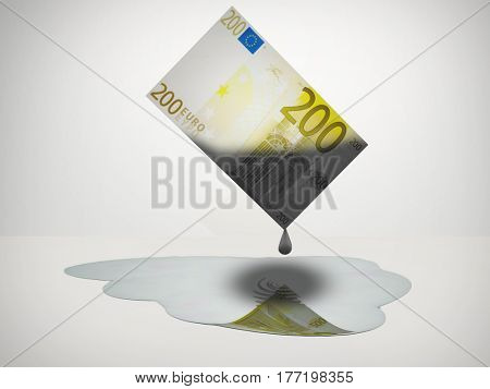 Oil Drips from 200 Euro Note  3D Render