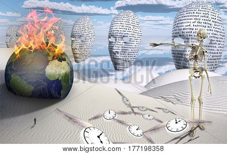 Surreal white desert. Figure of man in a distance. Masks floats in the sky. Burning globe. Skeleton  3D Render . Winged clocks represents flow of time.  Some elements provided courtesy of NASA