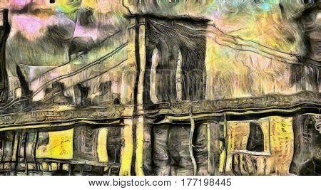 Vincent Van Gogh Style  3D Render Brooklyn Bridge NYC