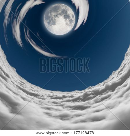 big full moon in a vortex of clouds  Some elements provided courtesy of NASA  3D Render