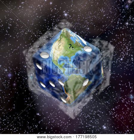 Planet Earth in dice shape.   3d render.   Some elements provided courtesy of NASA