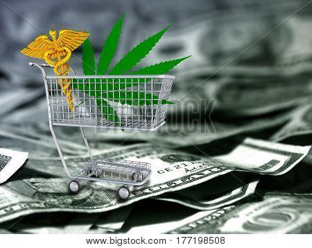 Marijuana leaf and caduceus in a cart. US dollars.   3d render.