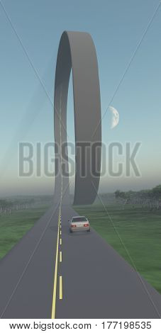 Car on a road with loop.   3d render.   Some elements provided courtesy of NASA