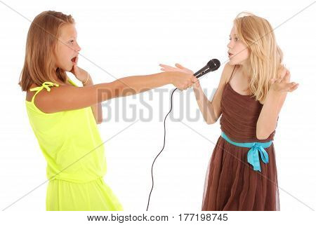 The teenage girl's interview isolated on white background