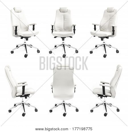 chair back front side armchair white collection black isolated business