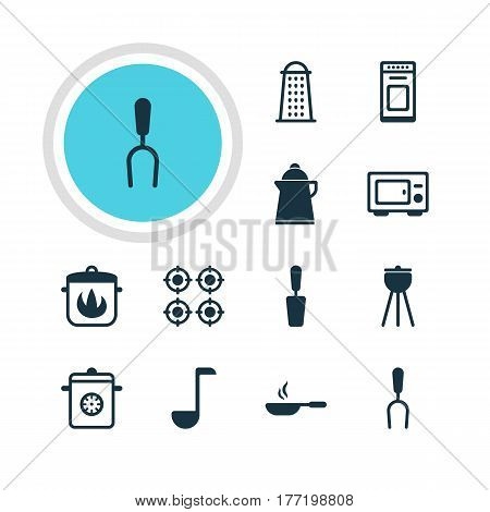 Vector Illustration Of 12 Cooking Icons. Editable Pack Of Stewpot, Spatula, Barbecue Tool And Other Elements.