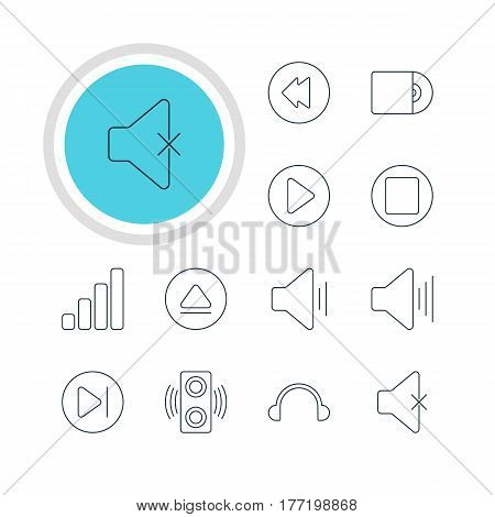 Vector Illustration Of 12 Melody Icons. Editable Pack Of Compact Disk, Rewind, Audio And Other Elements.