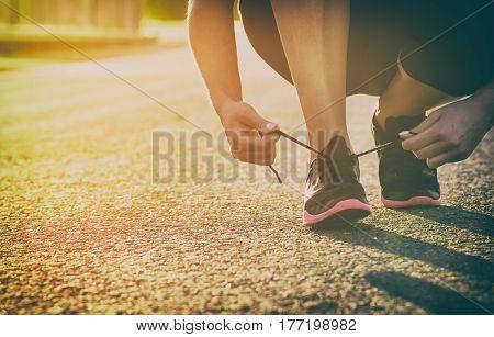 run runner sport shoe road jogging flare sunset asphalt street fitness
