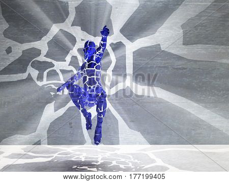 3d render. Figure of man with rays of light in motion.   3d render.
