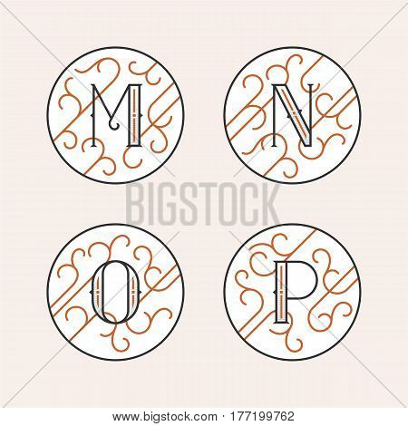 Decorative Initial Letters M, N, O, P. Luxury ornate monogram emblems in outline style. Vector illustration.