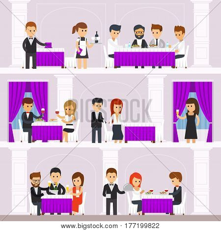 Restaurant interior with people, resting, people order food, waiters bring dishes, men and women eat. Infographic elements. The interior design of the restaurant vector flat illustration.