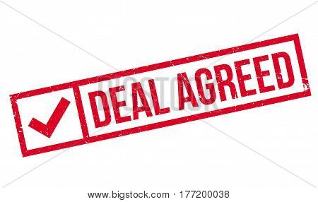 Deal Agreed rubber stamp. Grunge design with dust scratches. Effects can be easily removed for a clean, crisp look. Color is easily changed.