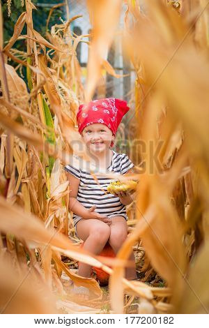 Happy Child In Red Bandana And Stripe Tee  Sits On A Pumpkinin The Cornfield. Dry Corn