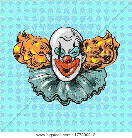 vintage clown pop art retro comic style illustration vector