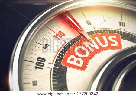 Bonus Rate Conceptual Gauge with Message on Red Label. Business Concept. 3D Illustration