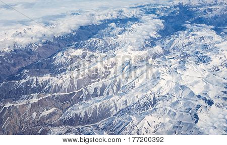 top view of Afghanistan mountains covered with snow