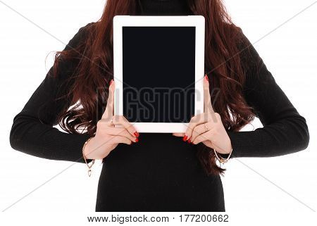 Teenage girl showing a blank vertical tablet screen isolated on white