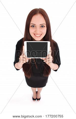 Happy student teenage girl with tablet pc isolated on white. View from above