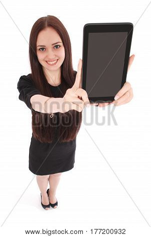 Happy student teenage girl view from above and showing a tablet display application isolated on white.