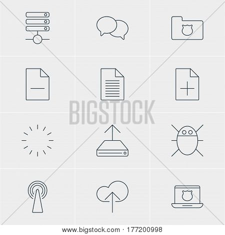 Vector Illustration Of 12 Web Icons. Editable Pack Of Talking, Waiting, Privacy Doc And Other Elements.