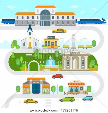 City infographic elements, town vector flat illustration. Railway station, museum, church building, cinema, park, statue, market, cafe, cars vector flat design. Green city with landmarks and buildings