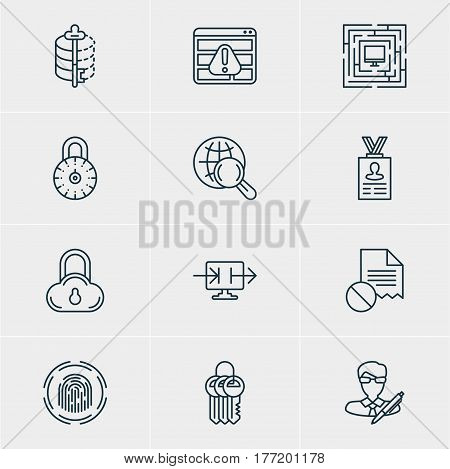 Vector Illustration Of 12 Web Safety Icons. Editable Pack Of System Security, Key Collection, Account Data And Other Elements.