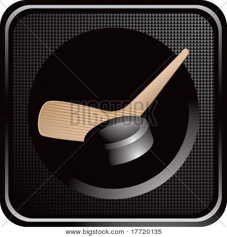 hockey stick and puck black web button