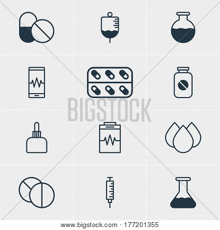 Vector Illustration Of 12 Medical Icons. Editable Pack Of Round Tablet, Treatment, Vial And Other Elements.
